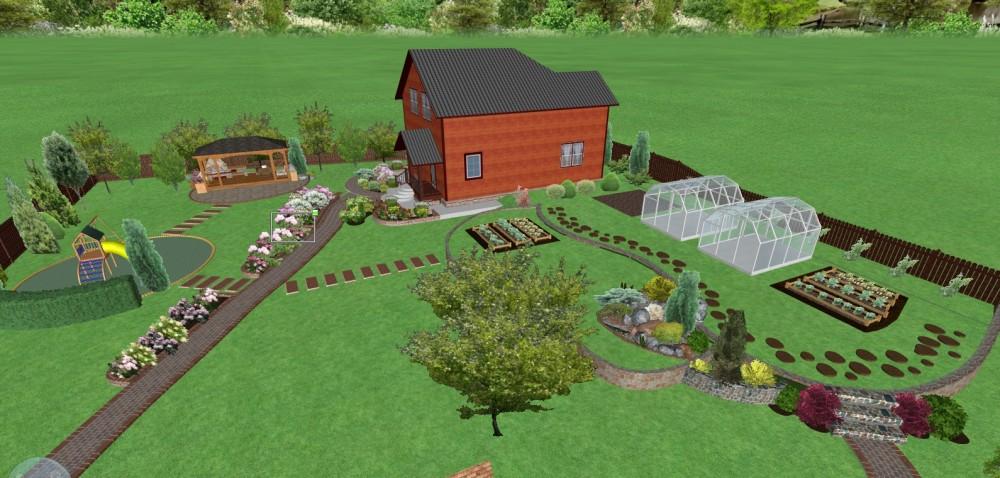 Ландшафтный дизайн участка 15 соток
