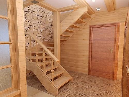 Деревянная лестница на второй этаж с забежными ступенями