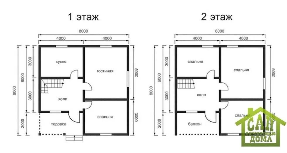 Vspishka: проект план дома 10 на 10.